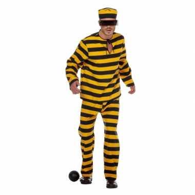 Inbreker carnavalskleding zwart/geel voor heren