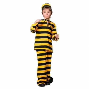 Inbreker carnavalskleding zwart geel voor kinderen