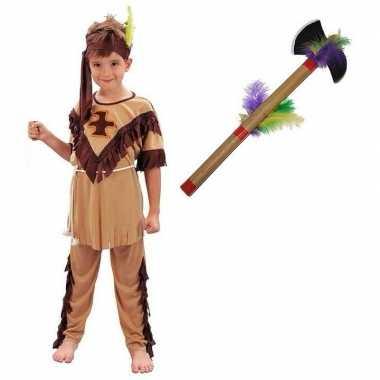 Indianen carnavalskleding maat l met tomahawk voor kinderen