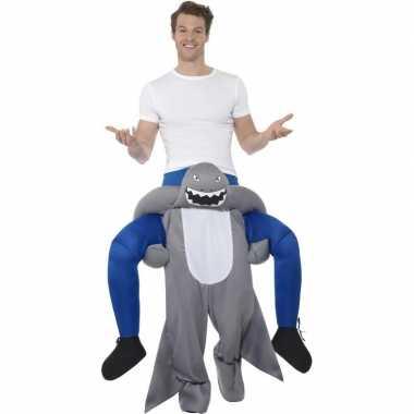 Instap dierenpak carnavalskleding haai voor volwassenen