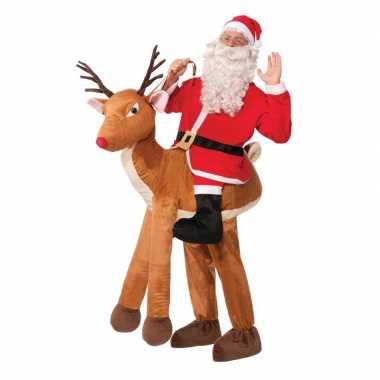 Instapcarnavalskleding kerstman op rendier voor volwassenen