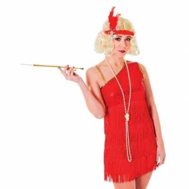 Jaren 20 carnavalskleding rood jurkje