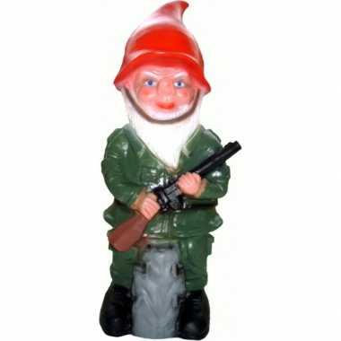 Kabouter beeld leger carnavalskleding 50 cm