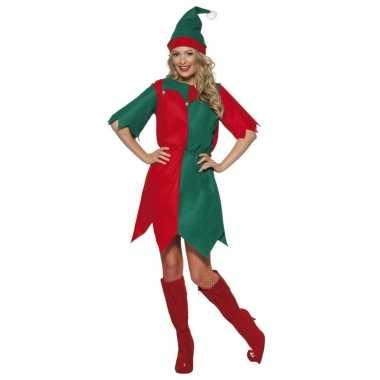 Kerst elf carnavalskleding rood/groen voor dames