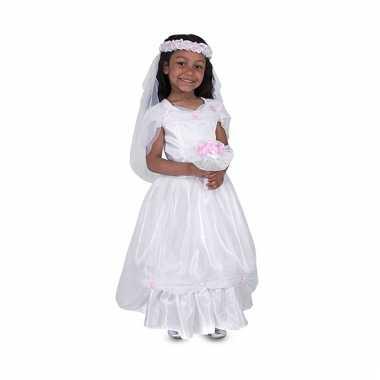 Kids carnavalskleding witte bruidsjurk