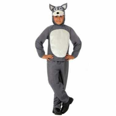 Kinder carnavalskleding grijs wolfje
