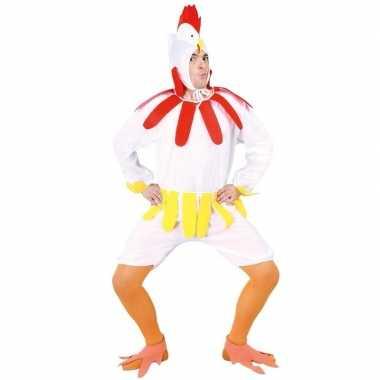 Kip/haan carnavalskleding wit voor volwassenen