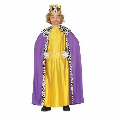 Koning mantel paars met geel carnavalskleding voor kinderen