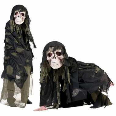Legergroen doodshoofd spook carnavalskleding