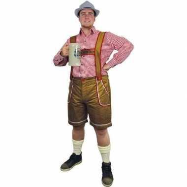 Lichtbruine lederhosen carnavalskleding/broek voor heren