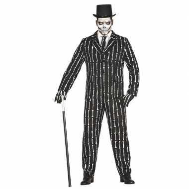 Luxe 3 delig skeletten carnavalskleding voor heren