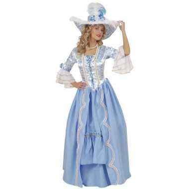 Luxe hofdame carnavalskleding blauw
