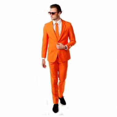 Luxe oranje carnavalskleding inclusief das