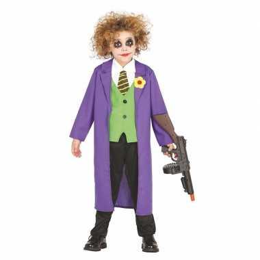 Luxe paarse horror clown joker carnavalskleding voor kinderen