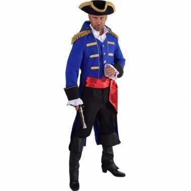 Luxe piraat carnavalskleding blauw voor heren