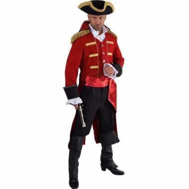 Luxe piraat carnavalskleding rood voor heren