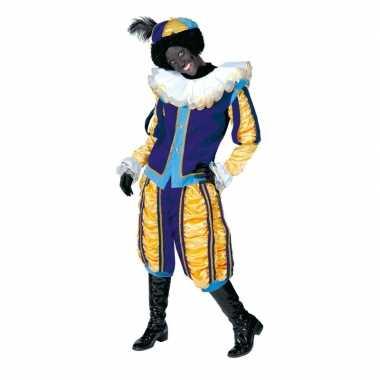 Luxe roetveeg pieten carnavalskleding geel/blauw voor dames en heren