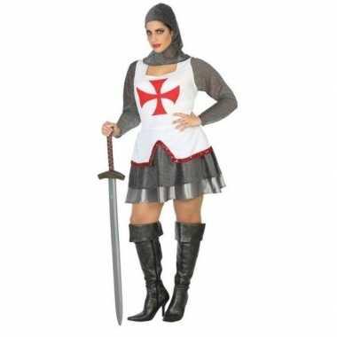 Middeleeuwse ridder carnavalskleding/jurk wit/rood voor dames