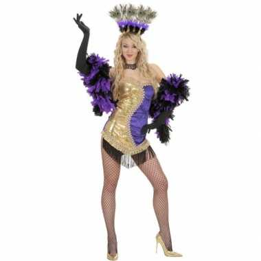 Moulin rouge carnavalskleding goud/paars