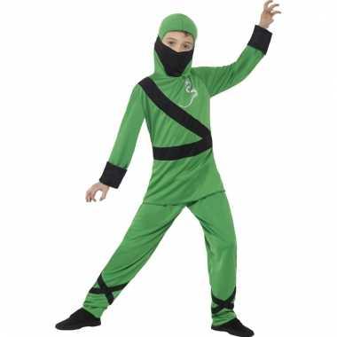 Ninja carnavalskleding groen zwart voor kinderen