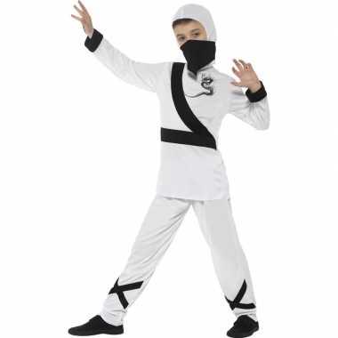 Ninja carnavalskleding wit zwart voor kinderen