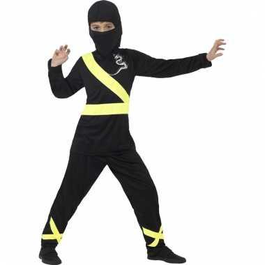 Ninja carnavalskleding zwart geel voor kinderen