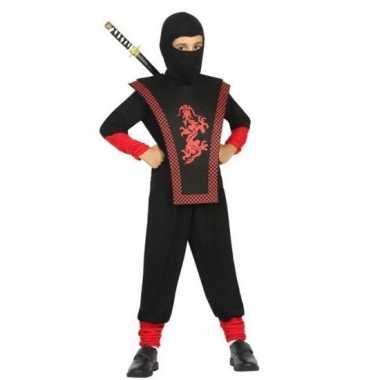 Ninja carnavalskleding zwart/rood voor jongens