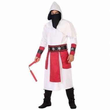 Ninja vechter carnavalskleding wit/rood voor heren