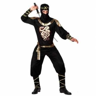 Ninja vechter carnavalskleding zwart/goud voor heren