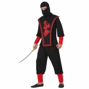 Ninja vechter carnavalskleding zwart/rood voor heren