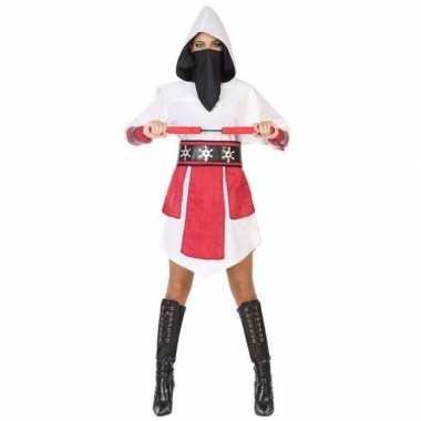 Ninja vechter jurk/carnavalskleding wit/rood voor dames