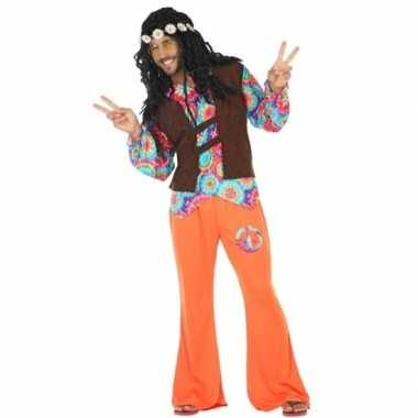 Oranje/bruin hippie/flower power carnavalskleding voor heren
