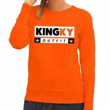 Oranje kingky carnavalskleding sweater voor dames