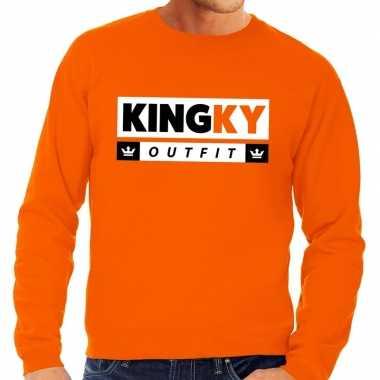 Oranje kingky carnavalskleding sweater voor heren