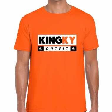 Oranje kingky carnavalskleding t shirt voor heren