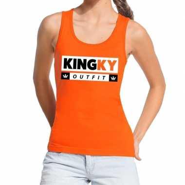 Oranje kingky carnavalskleding tanktop / mouwloos shirt voor dames