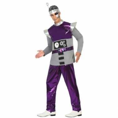 Paars robot carnavalskleding voor heren