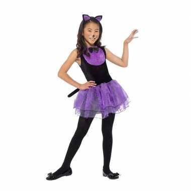Paars/zwarte kat/poes carnavalskleding voor meiden