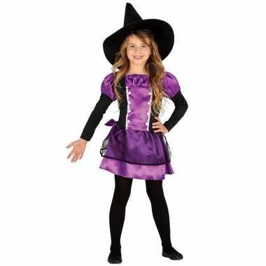 Paarse heks carnavalskleding bow witch voor kinderen
