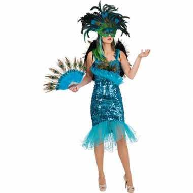 Pauwenveren glitterjurk carnavalskleding