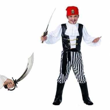 Piraten carnavalskleding maat m met zwaard voor kids