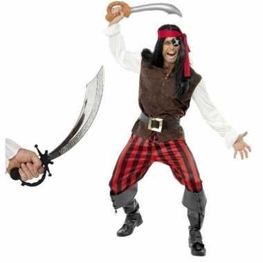 Piraten carnavalskleding met zwaard maat l voor volwassenen