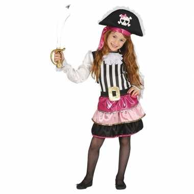 Piraten carnavalskleding roze voor meisjes