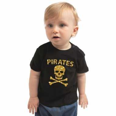 Piraten carnavalskleding shirt goud glitter zwart voor peuters