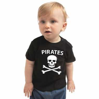 Piraten carnavalskleding shirt zwart voor peuters