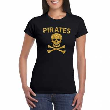 Piraten shirt / foute party carnavalskleding / carnavalskleding goud glitter zwart dames
