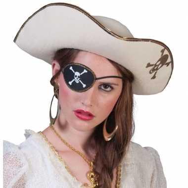 Piratencarnavalskleding accessoires witte piratenhoed met schedel