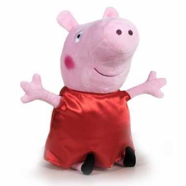 Pluche peppa pig/big knuffel in rode carnavalskleding 42 cm speelgoed