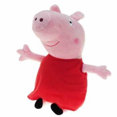 Pluche peppa pig/big knuffel met rode carnavalskleding 28 cm speelgoe