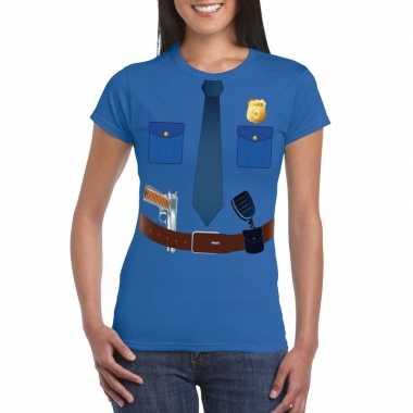 Politie uniform carnavalskleding t shirt blauw voor dames